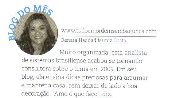 DEZ/ 2011.Blog do Mês!  Revista Casa Claudia